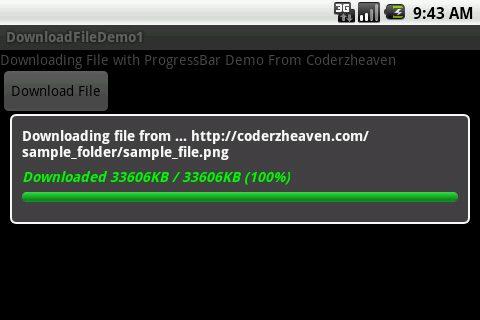 download a file to your android device from a remote server with a custom progressbar showing progress