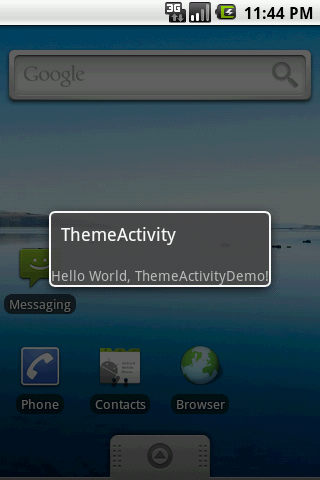 Theme Android activity